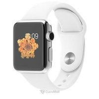Smart watches,sports bracelets Apple Watch 38mm Stainless Steel Case with White Sport Band (MJ302)