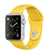 Smart watches,sports bracelets Apple Watch Sport 42mm Silver Aluminum Case with Yellow Sport Band (MMFE2)